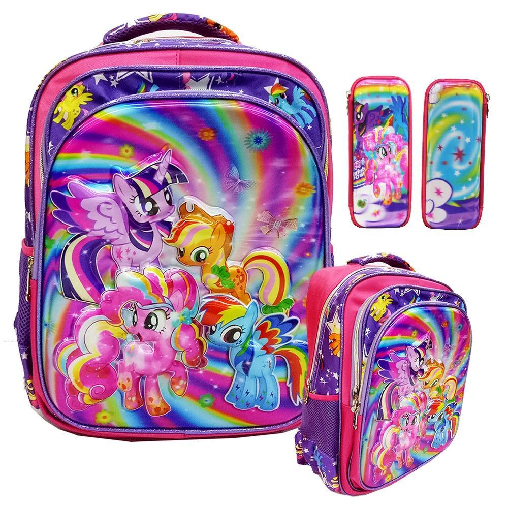 Harga Onlan My Little Pony Flower 5D Hologram Tas Ransel Sd Ukuran Kantung Import Dan Kotak Pensil Timbul Pink Origin