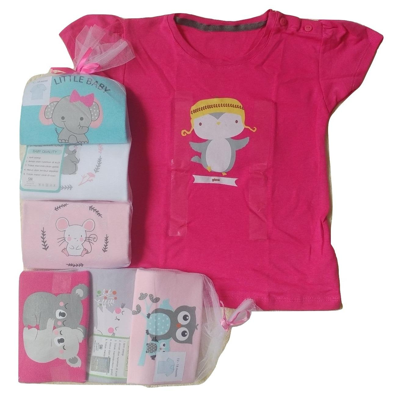 Miliki Segera Jelova Angela 3Pc Kaos Oblong Fashion Girls Baby Bayi 1 2 Years Mixmotif Random