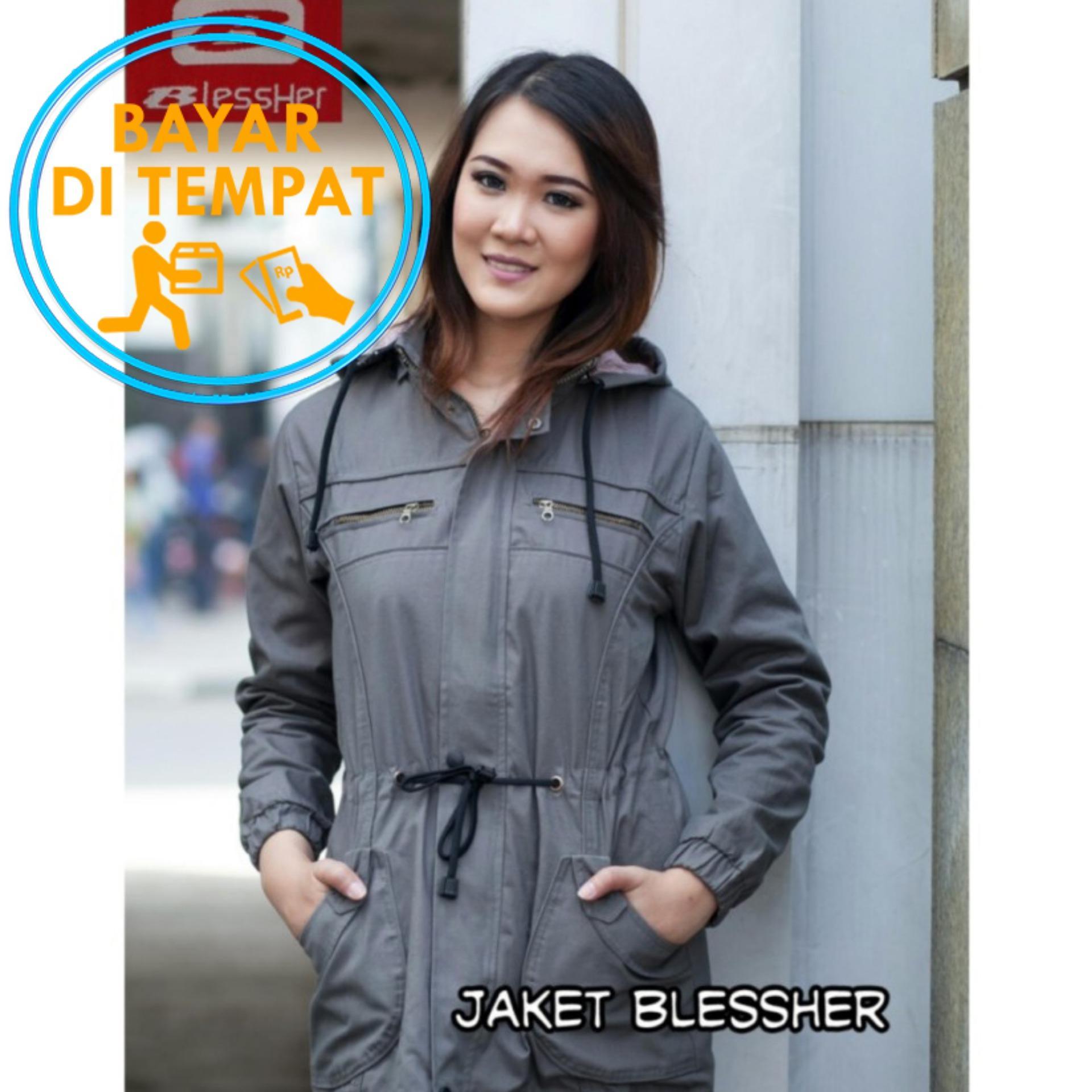 Harga Termurah Jaket Parka Wanita Premium Blessher Grey Best Seller