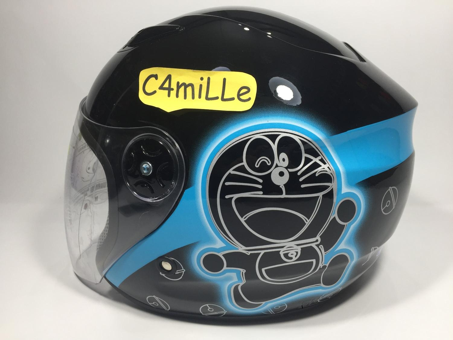 HELM BMC MILAN DORAEMON CAT SILUET BLACK BLUE HALF FACE