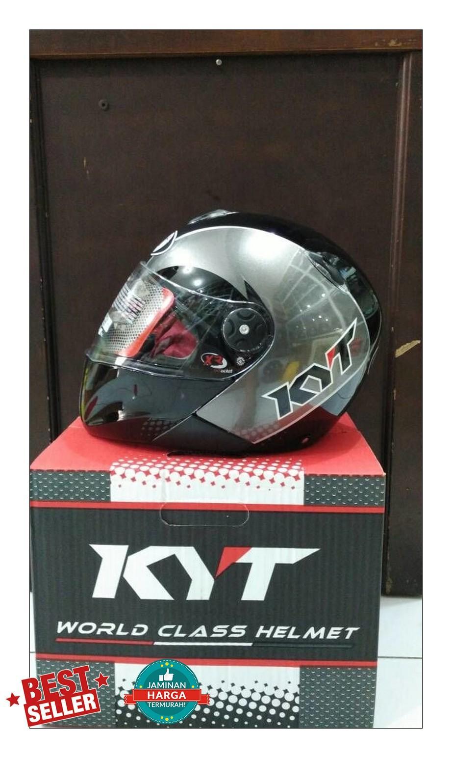 Helm KYT Xrocket X Rocket Black Gunmetal Glossy Roket Grey Fullface