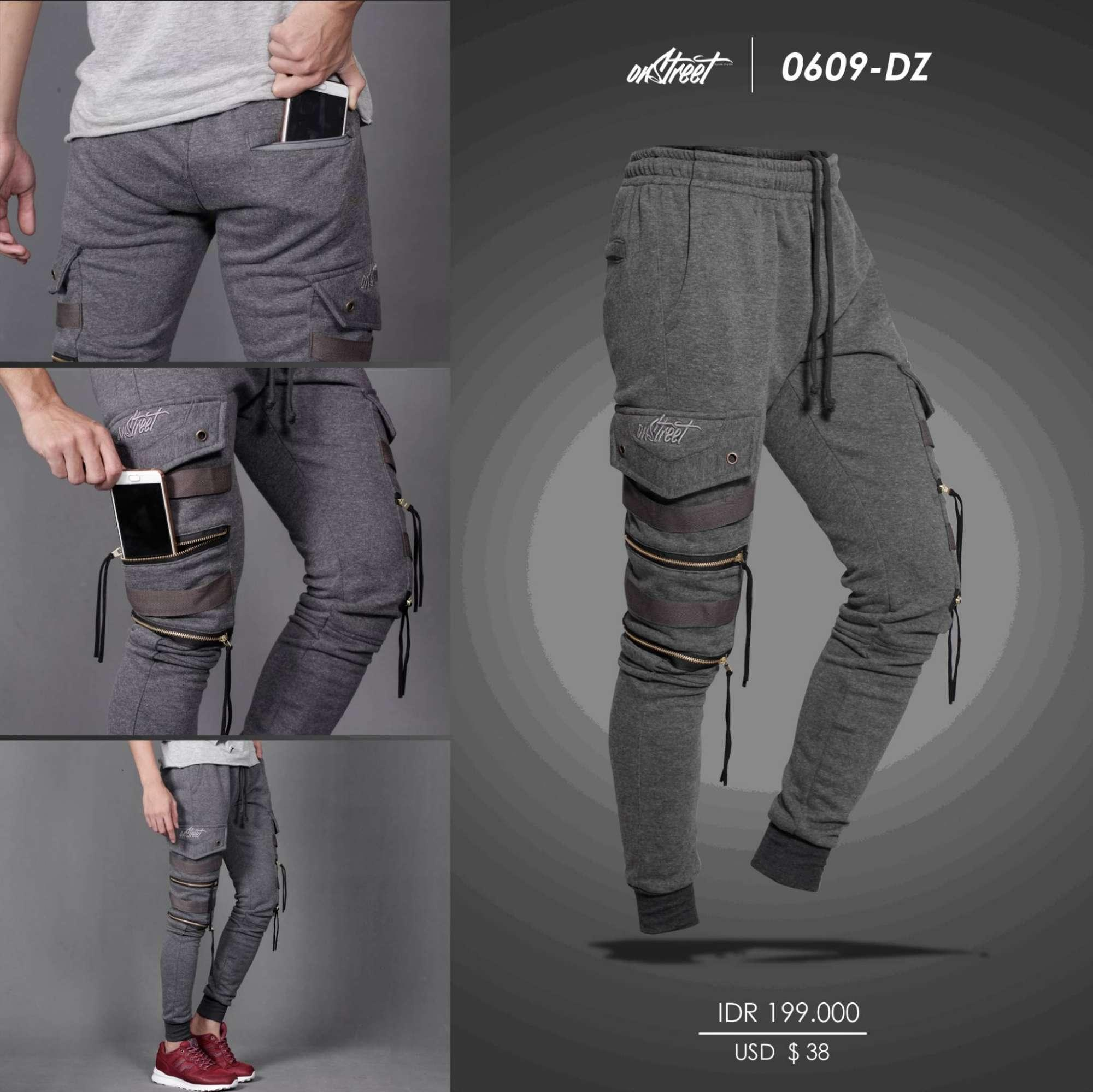 JOGERPANTS DOUBLE ZIPPER DARK GREY - JOGGERPANTS ONSTREET - CELANA JOGER