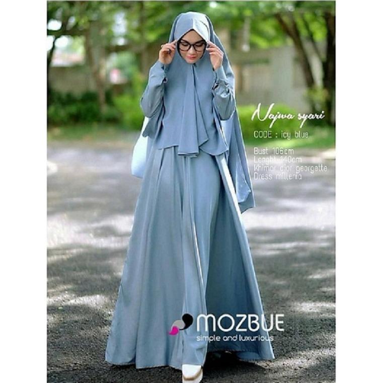 Baju Muslim Original Gamis Nazwa Syari Dress Baju Panjang Muslim Casual Wanita Pakaian Hijab Modern Modis Trendy Terbaru 2018