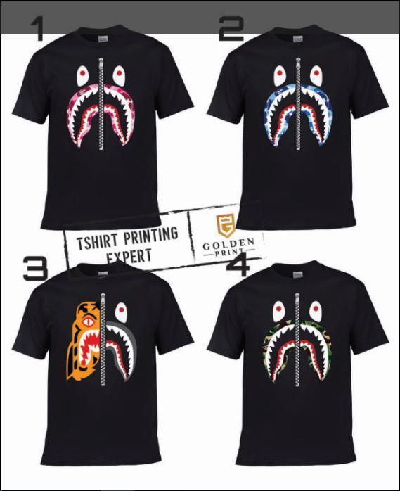 ... DISKON TERLARIS KAOS BAPE SHARK / kaos bape shark / bape shark tshirt / kaos branded