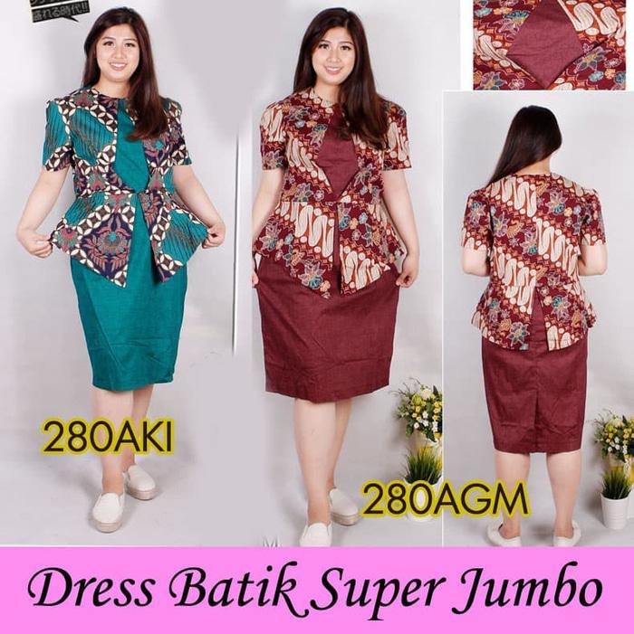 Dress Batik Super Jumbo Bigsize Baju Atasan Wanita Big Size 280 Vol 4