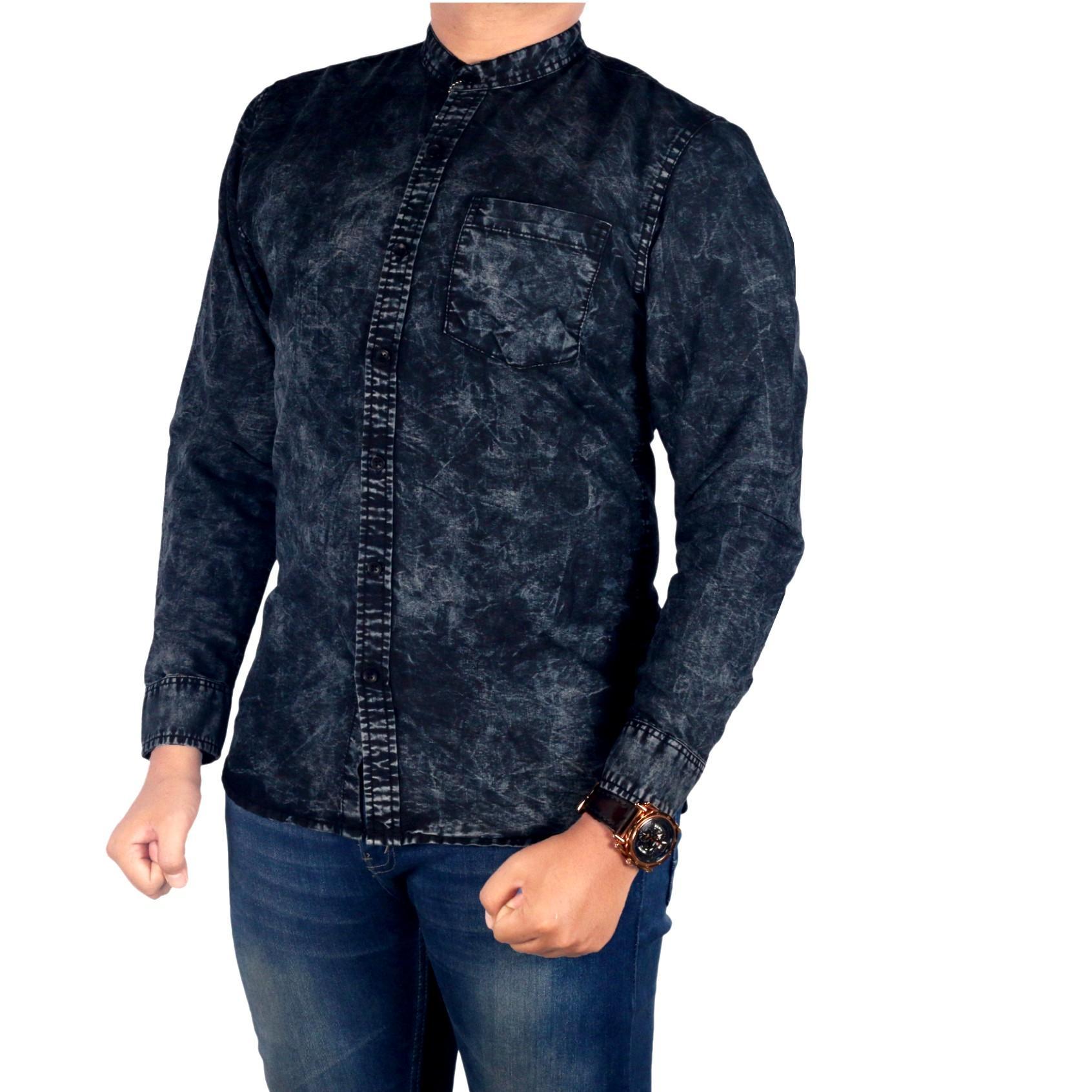 Dgm_Fashion1 Kemeja Pria jeans Polos Hitam Kerah Sanghai /Kemeja Polos/Kemeja Batik/Kemeja Casual/Kemeja Men/Kemeja Oxford/Kemeja Distro/Kemeja Jeans/Kemeja Denim/Kemeja Bunga/Kemeja Pantai /Kemeja Pendek/Batik/Kemeja Formal RX 5549