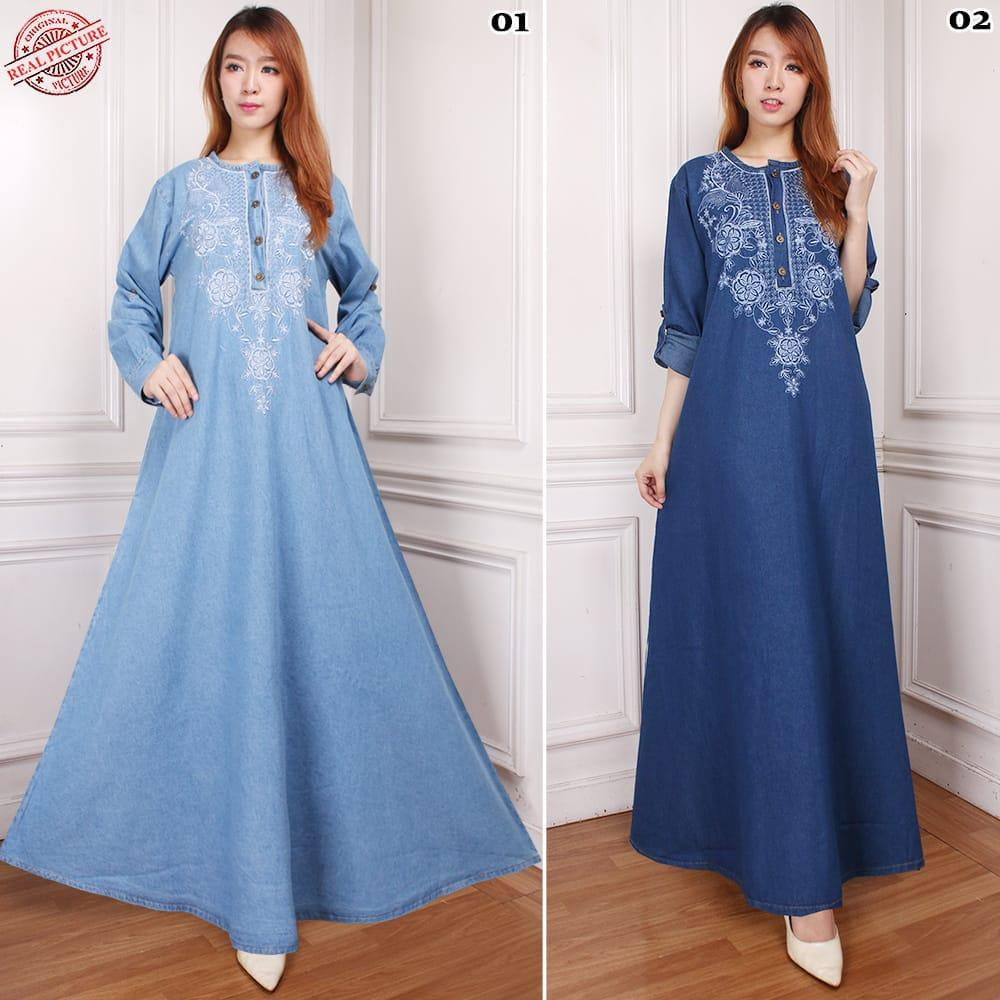 168 Collection Maxi Dress Mewya Longdress Payung Motif Jeans Jumbo Wanita