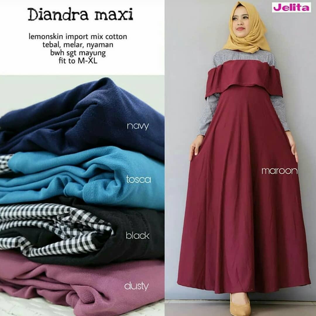 Fashion Muslim Gamis Diandra Maxi Ballotely   Baju Muslim Wanita Syari   Gaun  Muslimah   Maxi 2f3916565d
