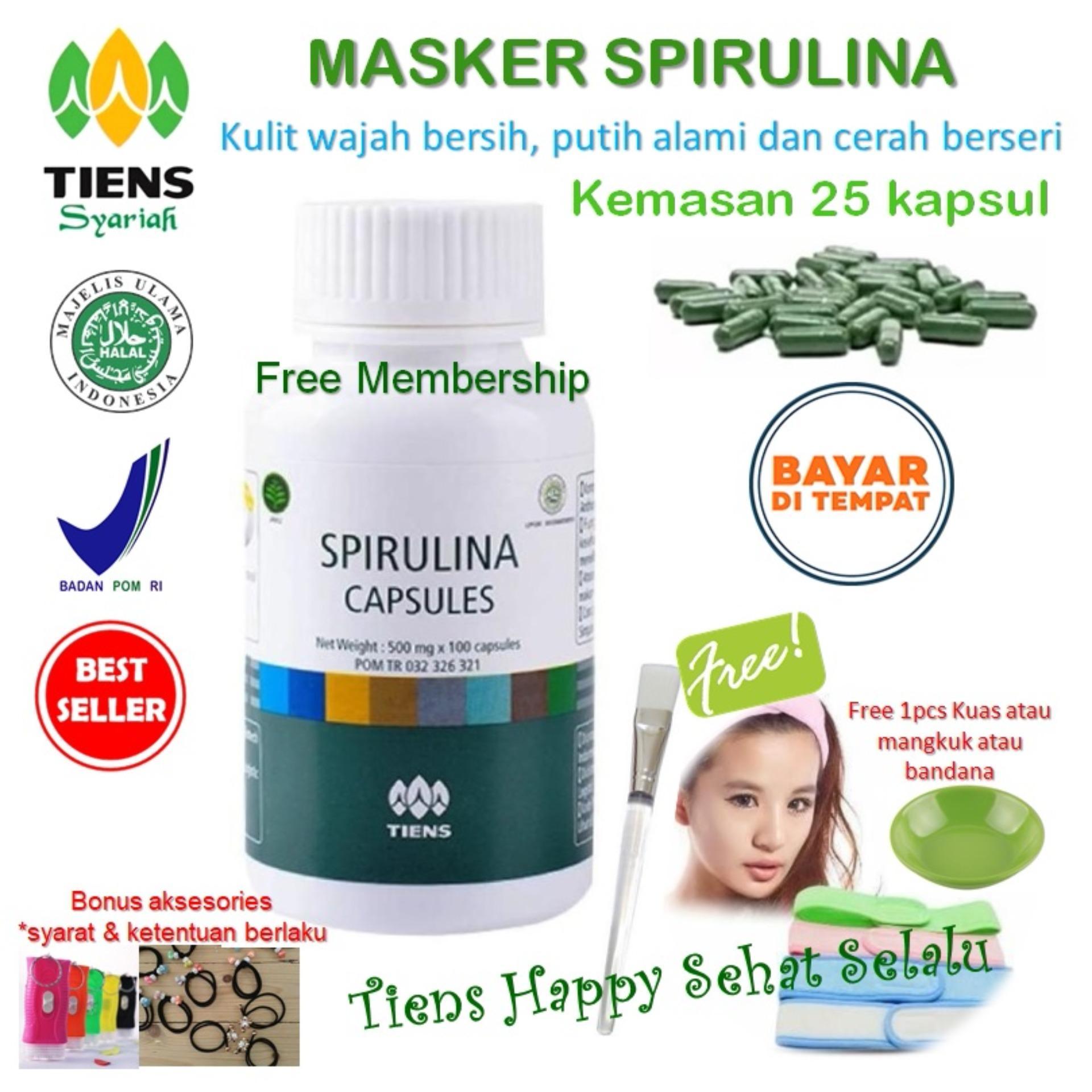 Diskon Masker Spirulina Tiens Herbal Pemutih Wajah Isi 25 Kapsul Tiens Happy Tiens