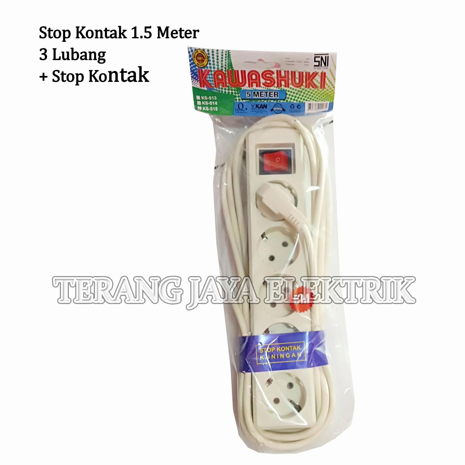 Detail Gambar Stop Kontak/Colokan Listrik 5 Meter 5 Lubang + Switch KAWASHUKI Terbaru