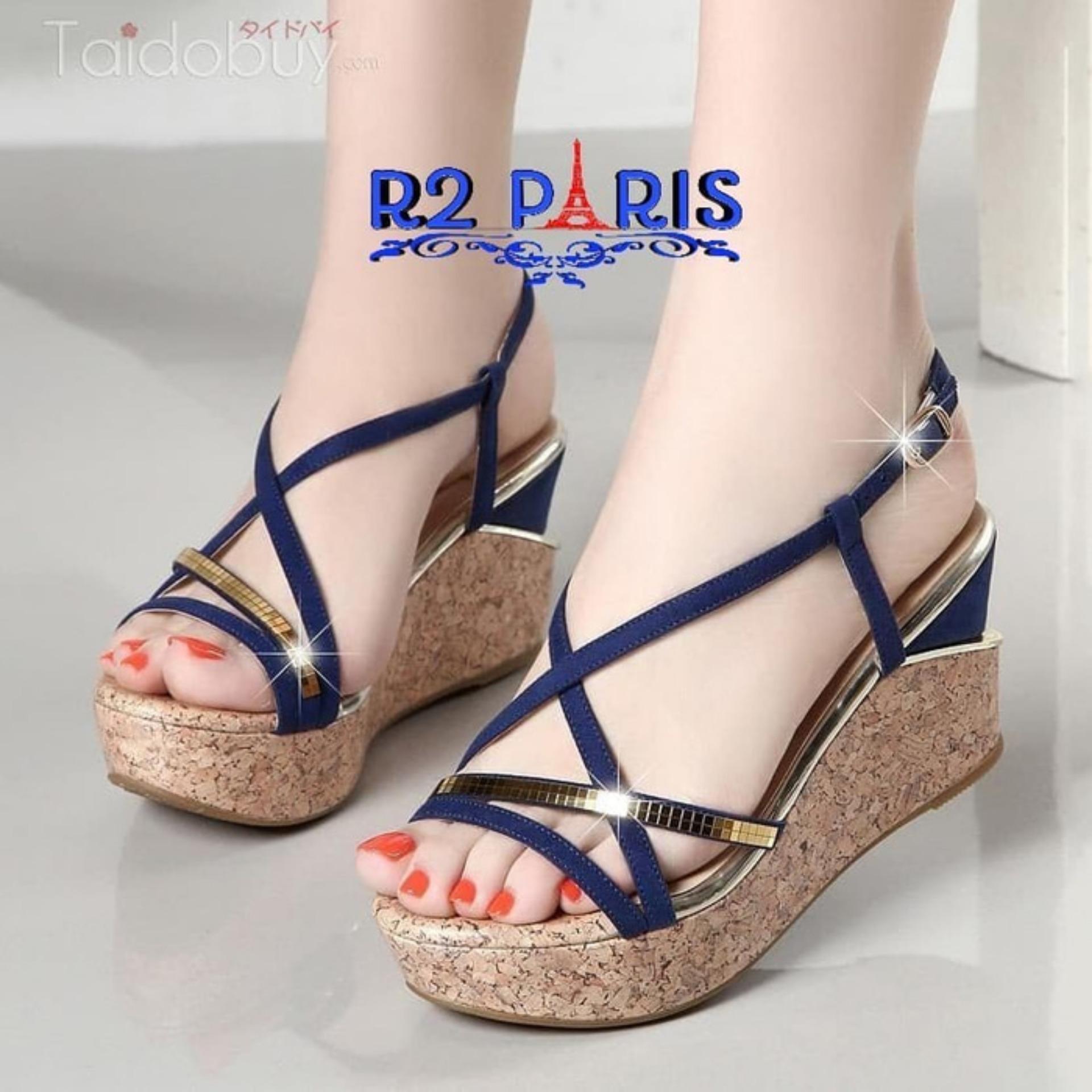 Sandal Wedges Wanita Strap Ring Biru - Kazax R2