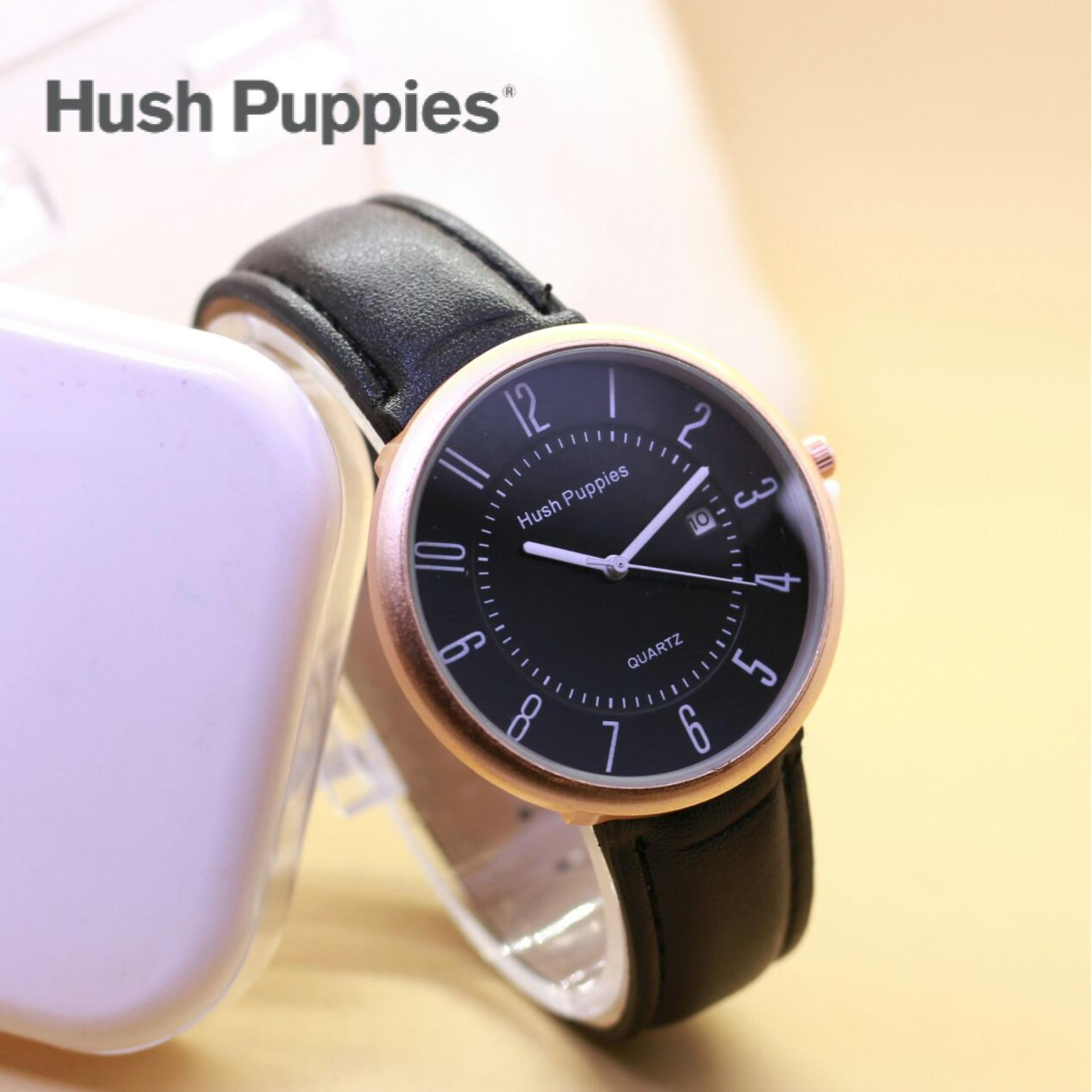 Jam Tangan Hush Puppies 014 Tanggal On Kulit In Black