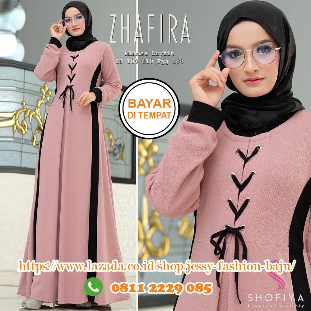 Baju Muslim Original Gamis Zhafira Dress Balotelly Baju Wanita Gamis Baju  Terusan Panjang Baju Kerja Gaun 44ff1e6daa
