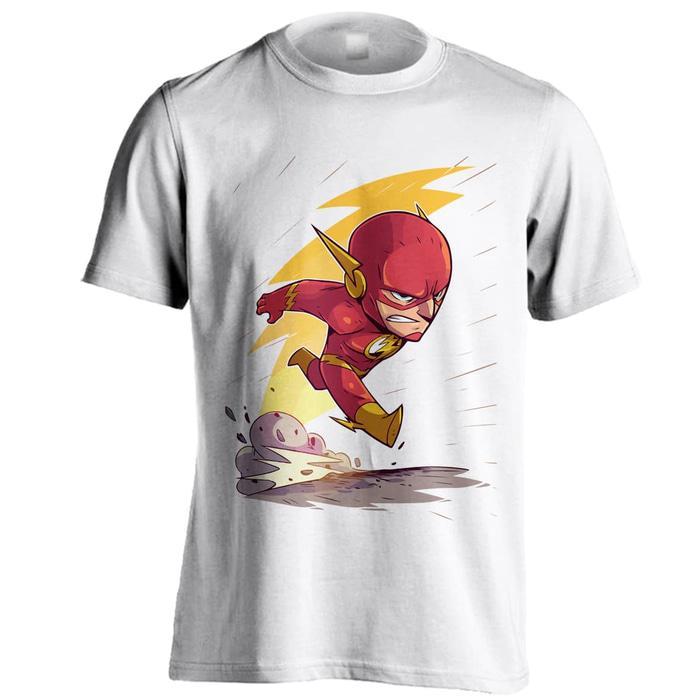 Kaos Distro Super Hero Chibi Flash Putih Big Size XXXL