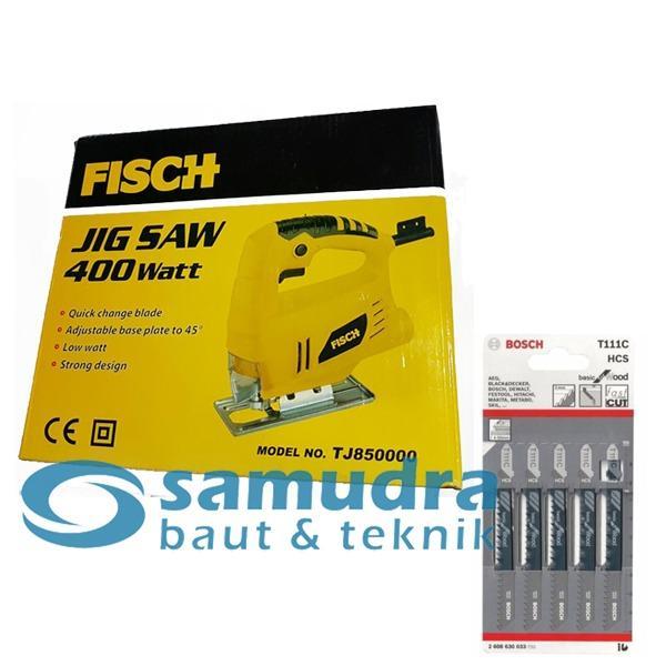 FISCH Mesin Jigsaw TJ85000 & BOSCH T111C Mata Gergaji Triplek Kayu