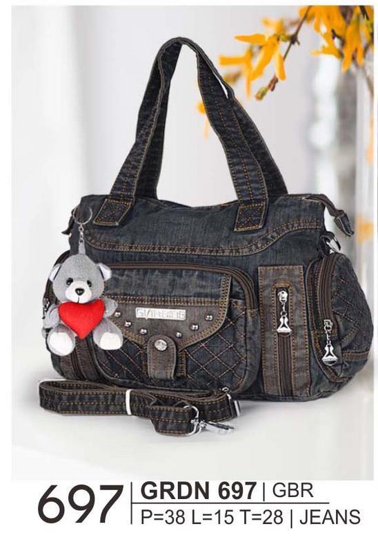 Giardino GRDN 697 tas dewasa handbag/bisa selempang wanita - bahan jeans - p=38 l=15 t=28 - cantik dan menarik (blue black)