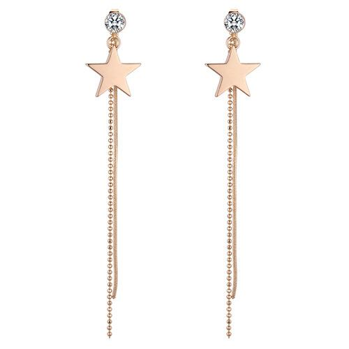 LRC Anting Tusuk Fashion Gold Color Star Shape Decorated Earrings