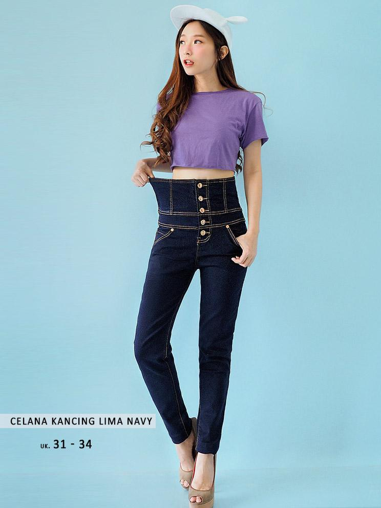 (Baru) Celana Jeans Jumbo Wanita - Celana Kancing Lima Jumbo Navy - Highwaist big