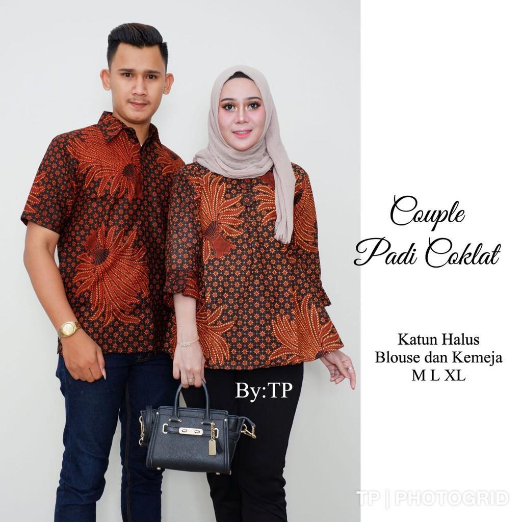 COUPLE BLUS PADI COKLAT batik kantor
