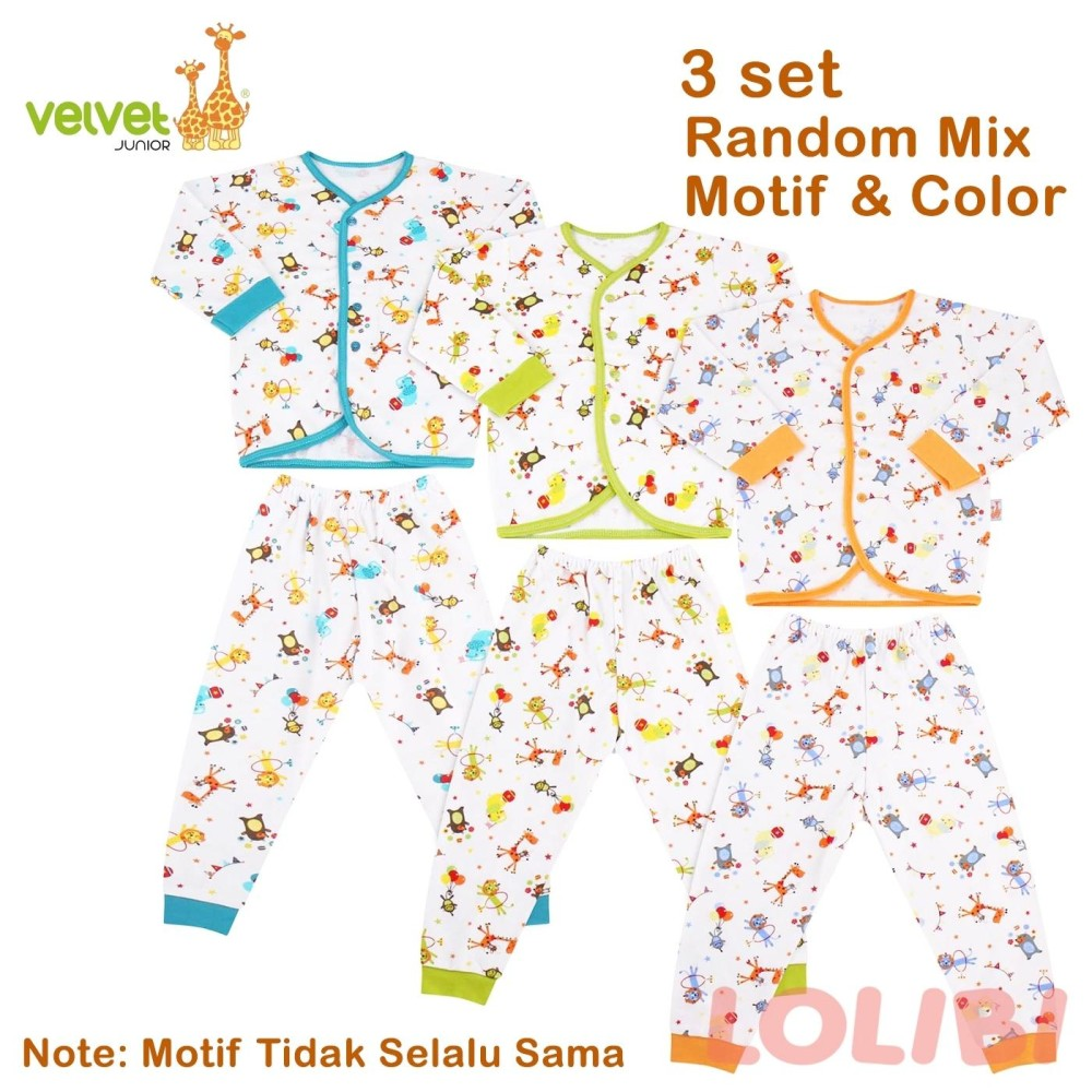 Jual Velvet Junior Random Motif Baju Celana Panjang L 3 Pcs Murah Di Dki Jakarta