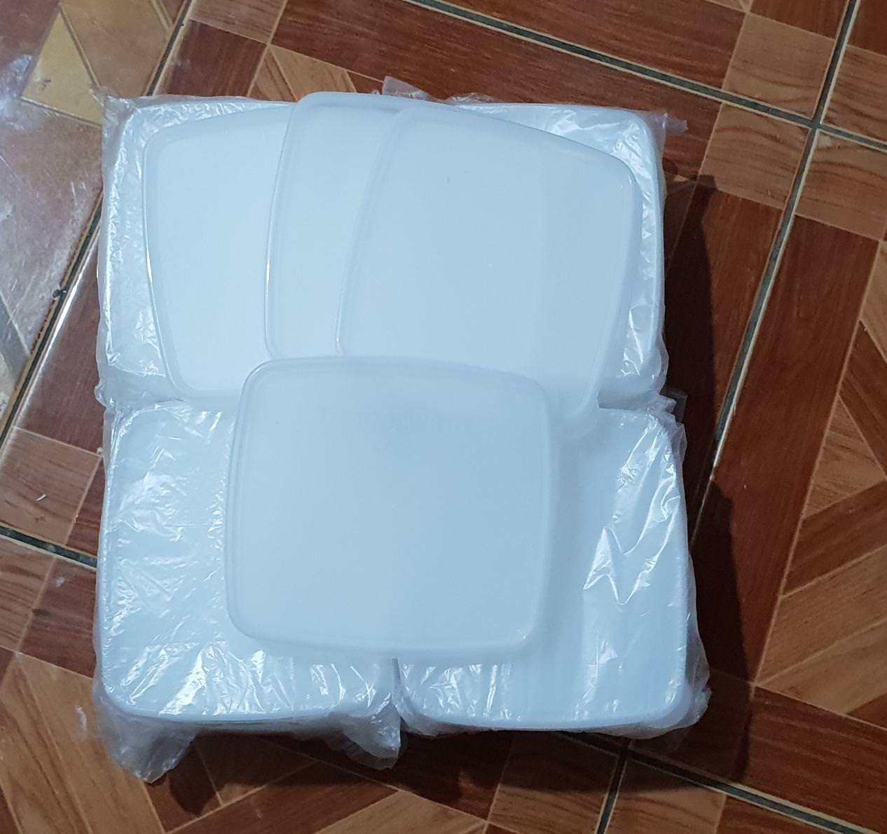 tutup seal square round putih transparan tupperware