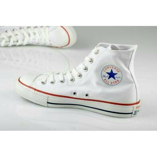 Sepatu Converse Allstar High Putih List Merah Biru + Bok Converse - 74Hbfi