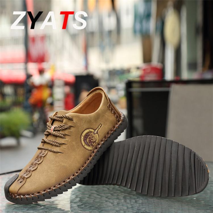 ZYATS Kulit Men's Flats Sepatu Moccasin Casual Loafers Slip-On Besar Ukuran 38-46 Kuning - 3