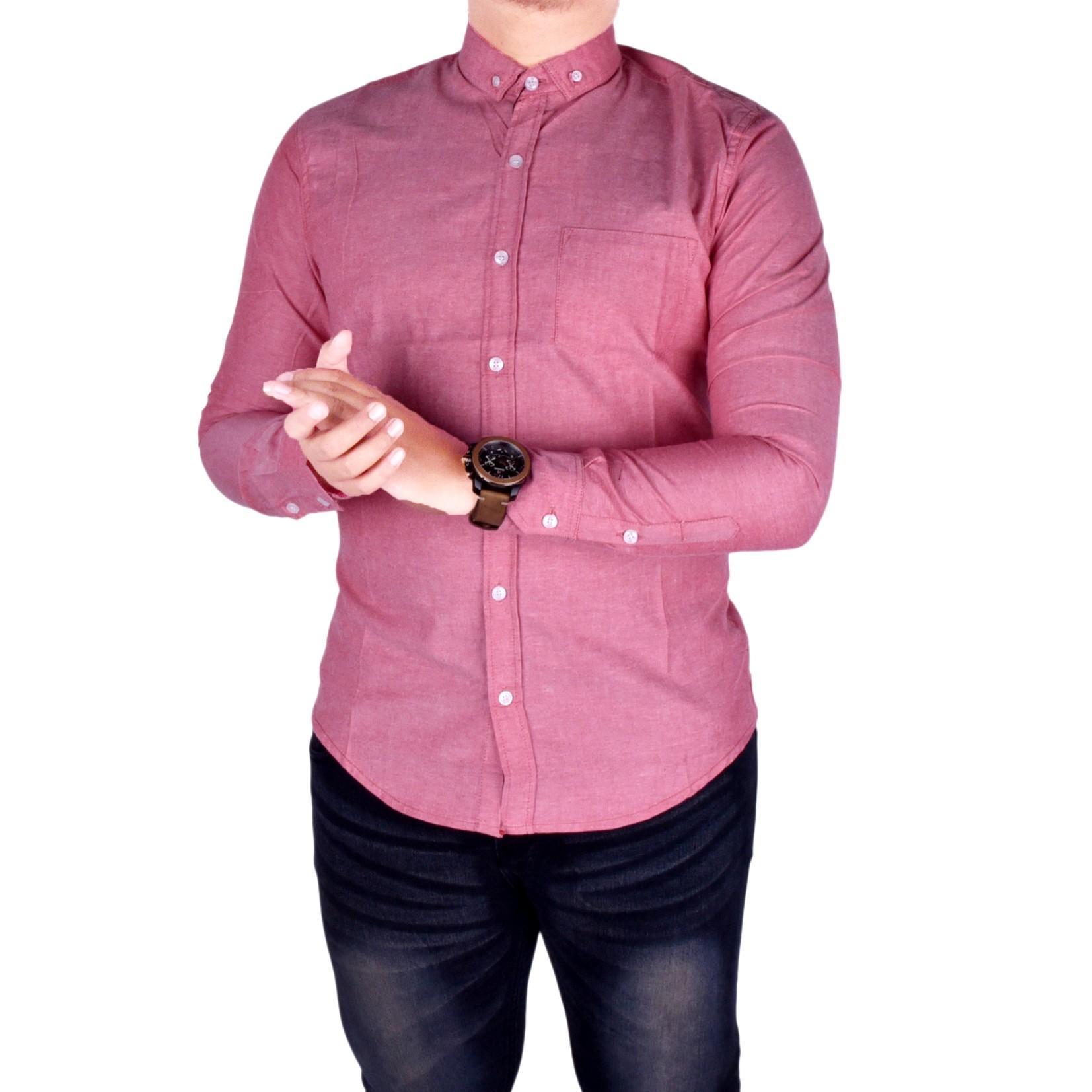 Review Dgm Fashion1 Kemeja Lengan Panjang Flanel Beckham Batik Pria 2 Layer Mlxl Polos Pink Casual