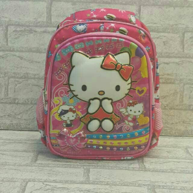 Tas Ransel Sekolah Anak Paud Playgroup 6D LAMPU Timbul Hello Kitty