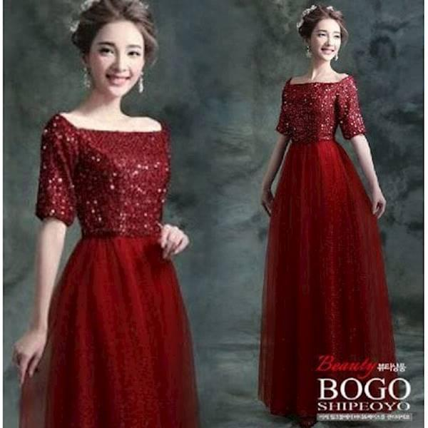 MURAH ABISS !! [Longdress Dyana Red FT] Dress Wanita Spandek Payet Merah