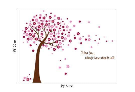Detail Gambar Wall sticker Pink Tree Flowers AY9026A (90x60) Stiker Dinding Terbaru