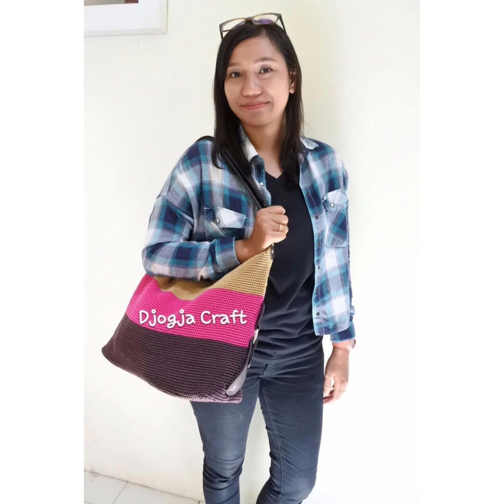 Djogja Craft Tas Rajut 3 Warna - Coklat Pink Cream