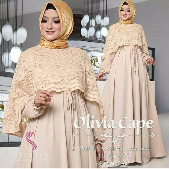 Gamis Olivia Cape Dress Wolfice Mix Brukat Baju Wanita Panjang Muslim  Casual Wanita Pakaian Hijab Modern e0193b0502