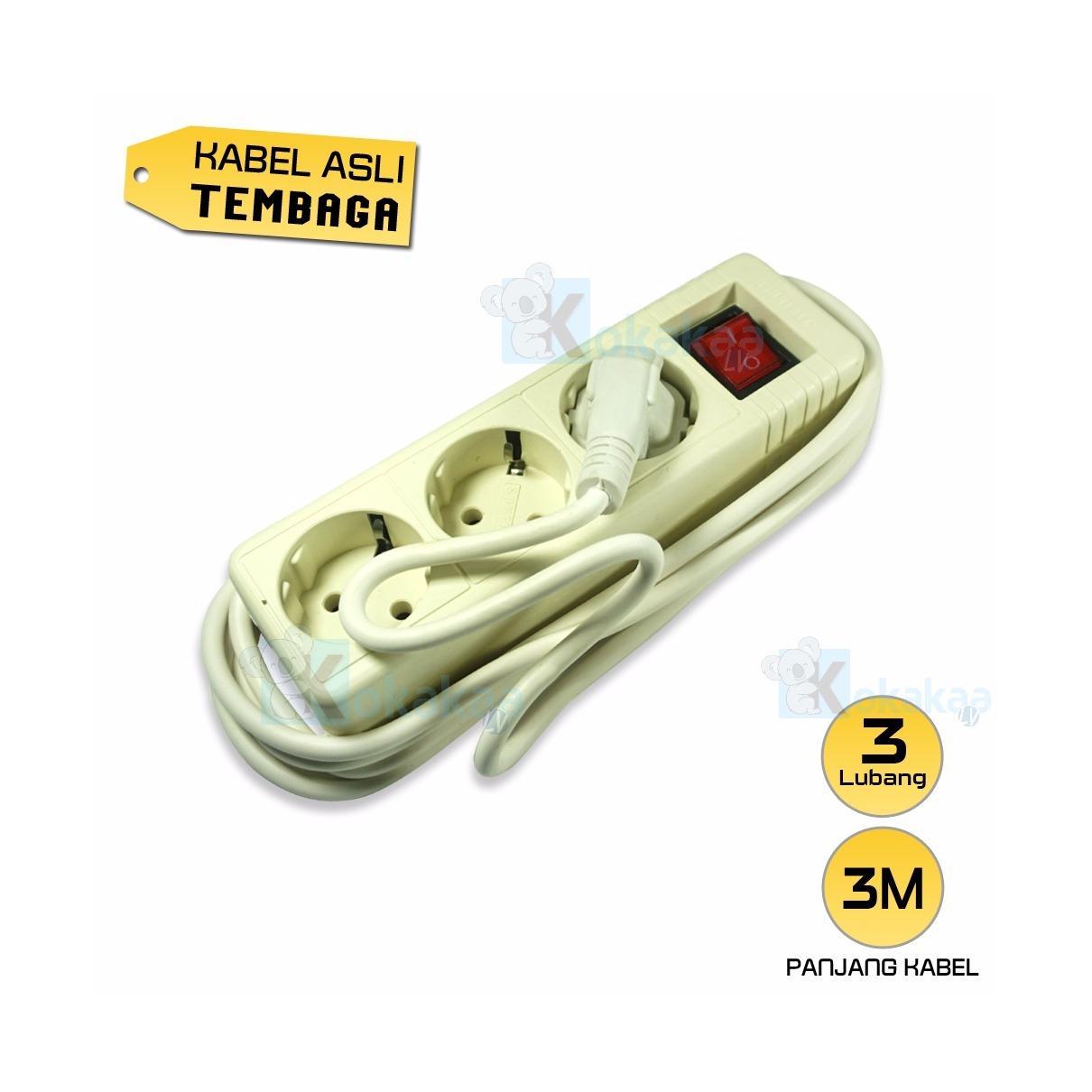 Sunfree Stop Kontak 3 Lubang Colokan + Kabel 3M - Putih