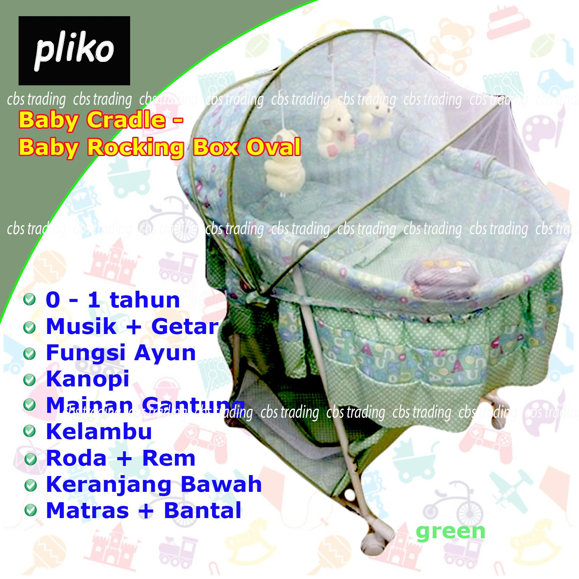 Harga Hemat Pliko Cradle Swing B608An Box Oval Ranjang Bayi Ayun Kelambu Hijau