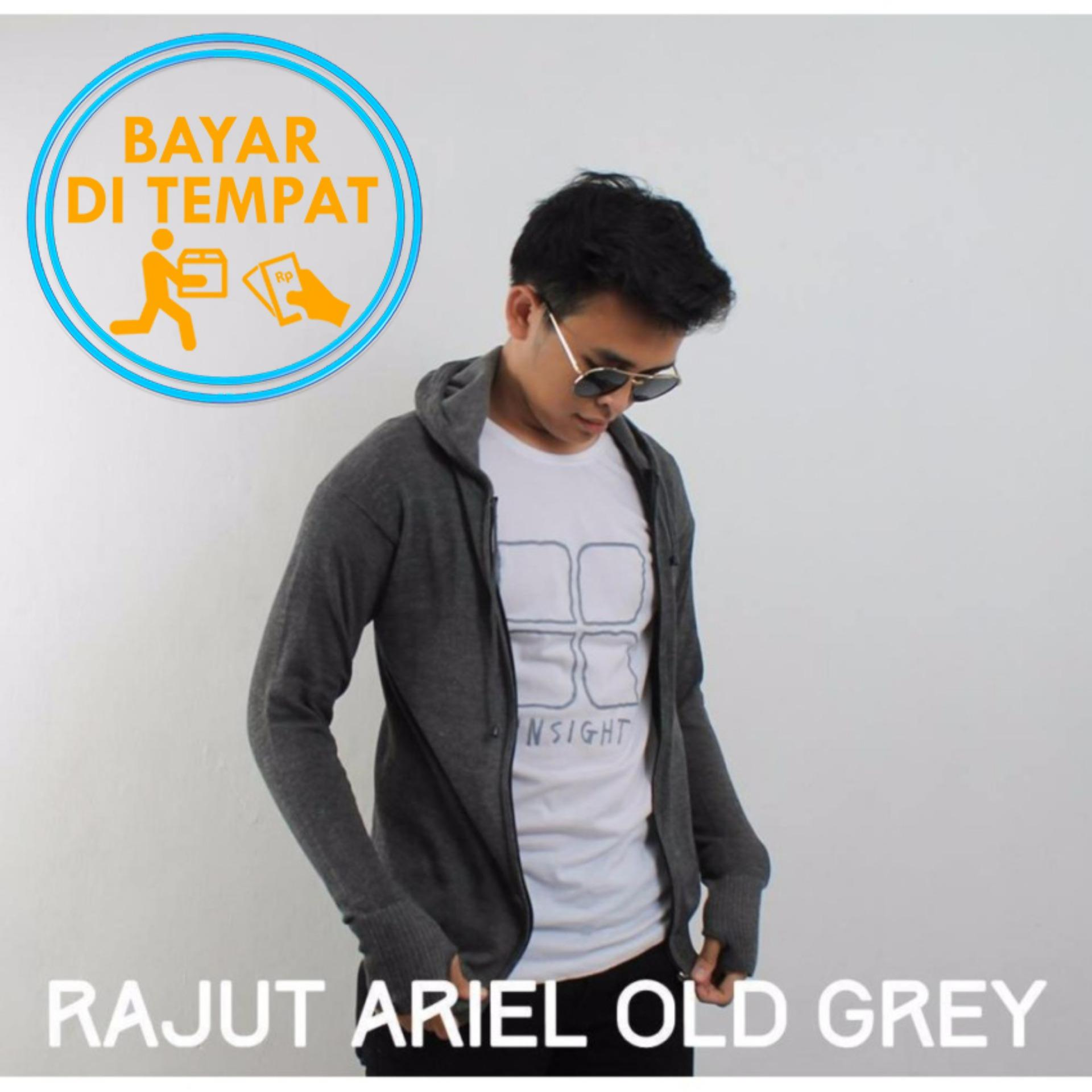 Jual Sweater Rajut Round Hand Finger Dark Grey Jempol Bolong Branded Original