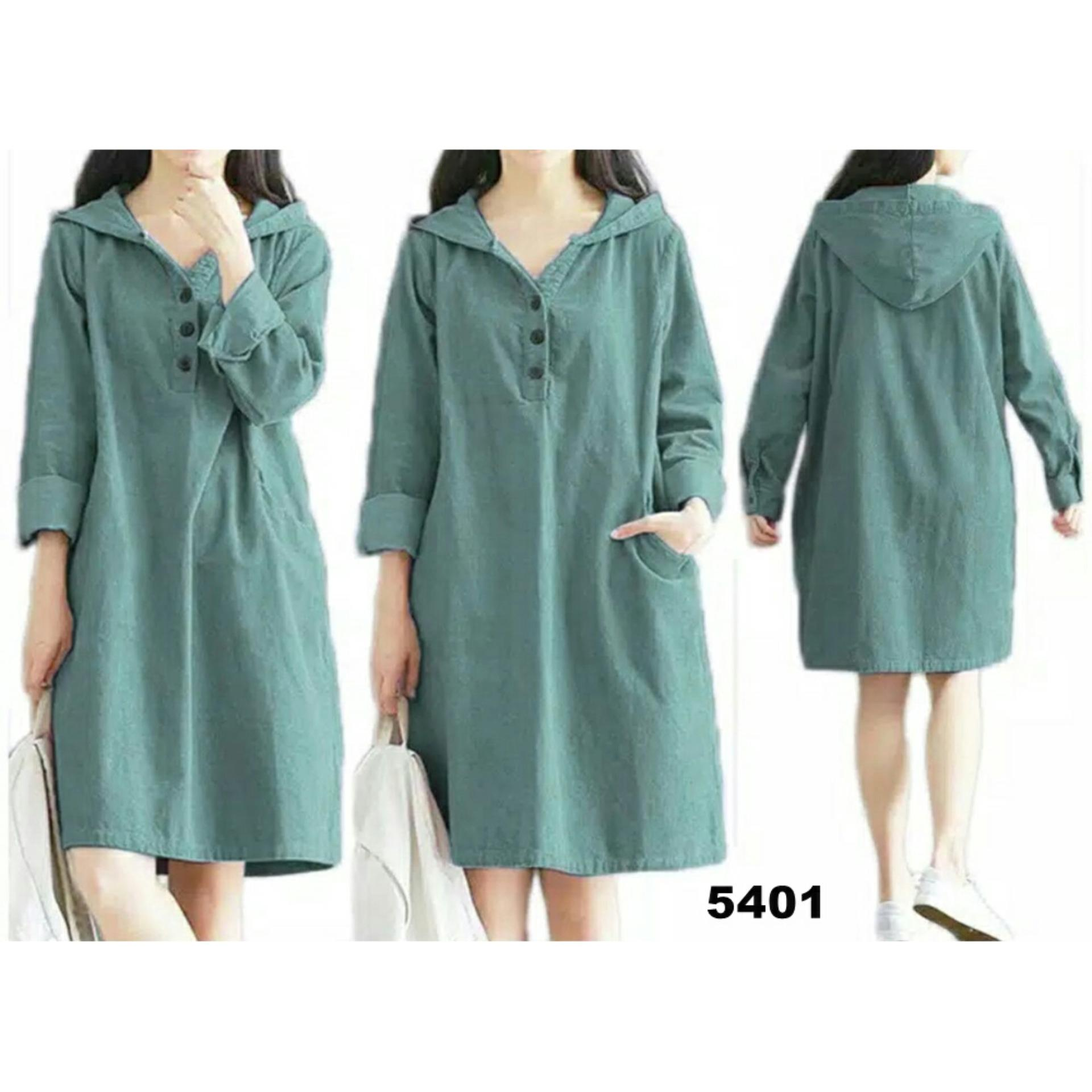 T-OS Pakaian Wanita Dress Hodie