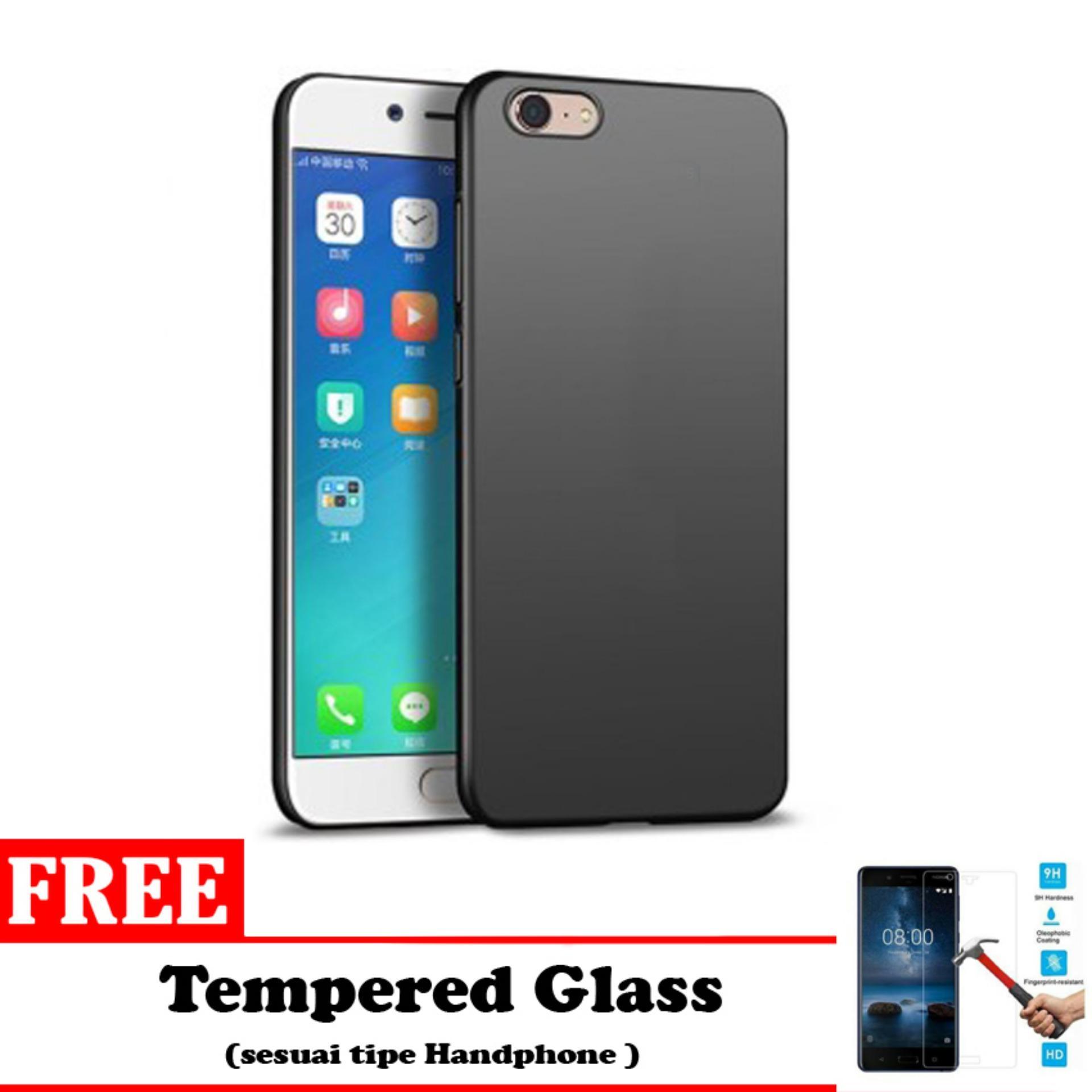 Case Slim Black Matte Oppo A57 - Black Doff - Free Tempered Glass