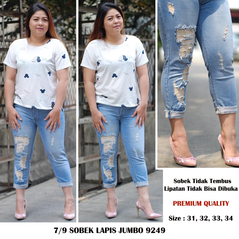 Detail Gambar Rumah Jeans / Celana Jeans Jumbo Wanita / 7per9 Jeans Sobek Lapis Jumbo 9249