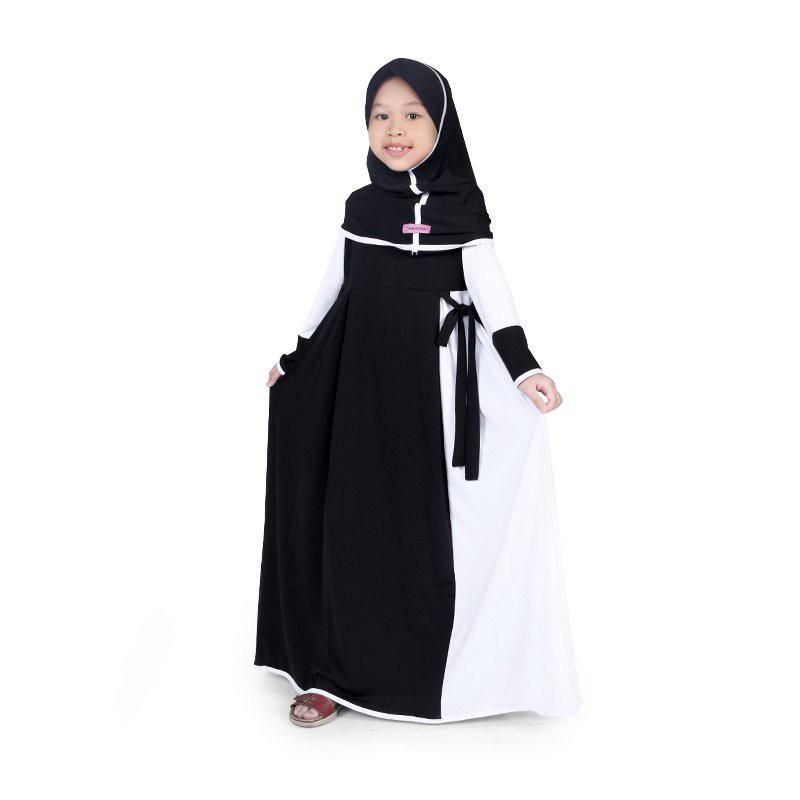 Baju Muslim Anak Perempuan Gamis Jersey Hitam Putih