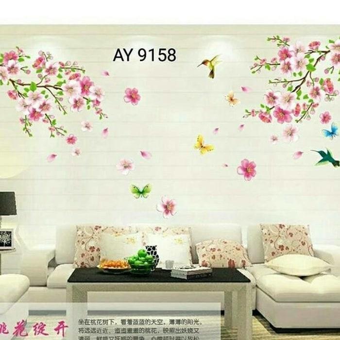 WALLPAPER STIKER TRANSPARAN 60X90 CM AY9158 wallsticker wall sticker stiker dinding Pink Flowers
