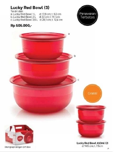 Gambar Tupperware Lucky Red Bowl set (5pcs) Selengkapnya