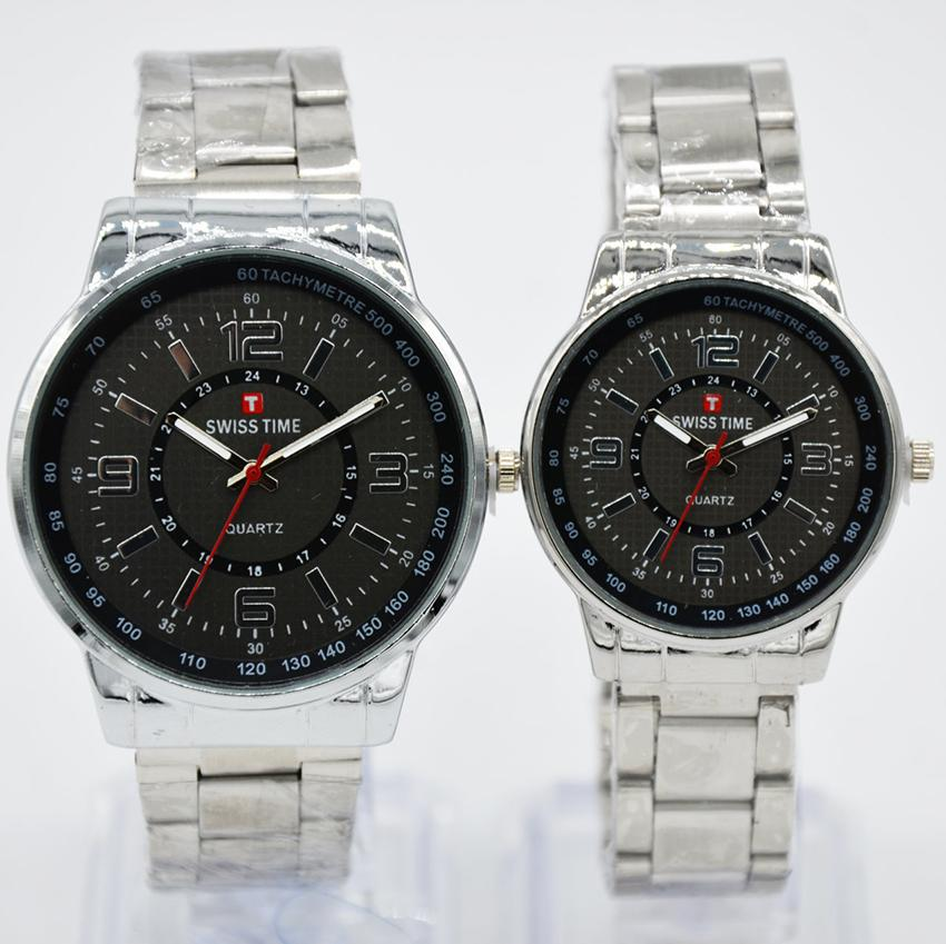 Swiss Time/Army - Jam Tangan Couple Stainless