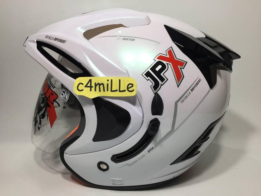 HELM JPX SUPREME SOLID WHITE DOUBLE VISOR HALF FACE