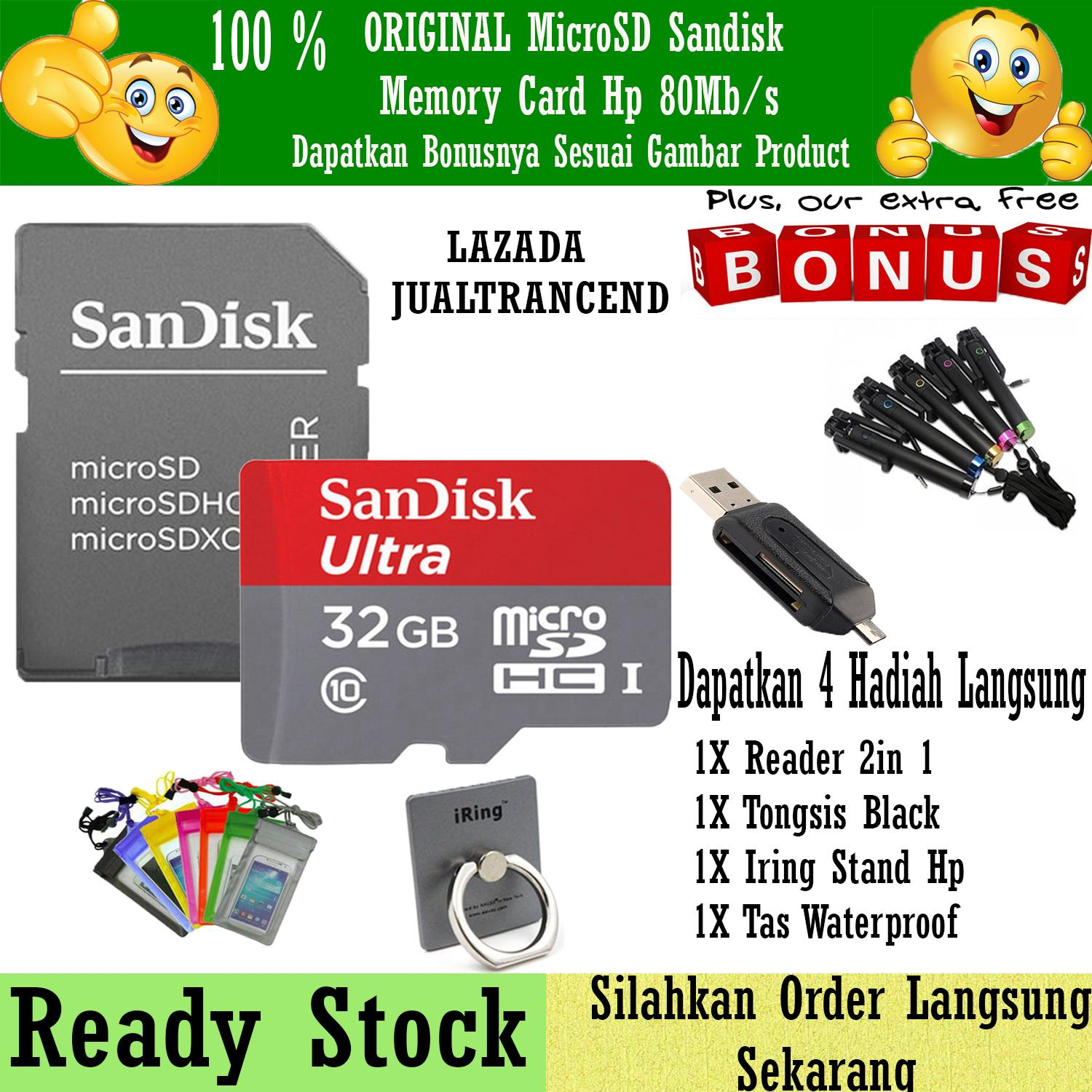 SanDisk Ultra Micro SD 32GB 80MB/s Class 10 UHS + Gratis Reader 2in1 +