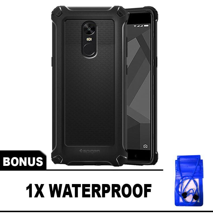 Case Spigen Armor Rugged Capsule Matte Untuk Xiaomi Redmi Note 4X Snapdragon 4G - Free Waterproof