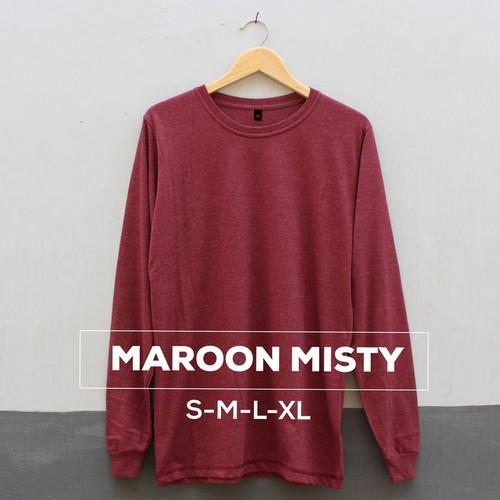 Baju Kaos Polos Pria Wanita 100% Cotton Combed 30S Lengan Panjang High Quality Warna MAROON