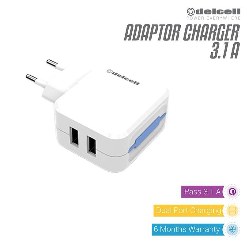 Delcell Adaptor Charger 2 Port 3.1A - Putih