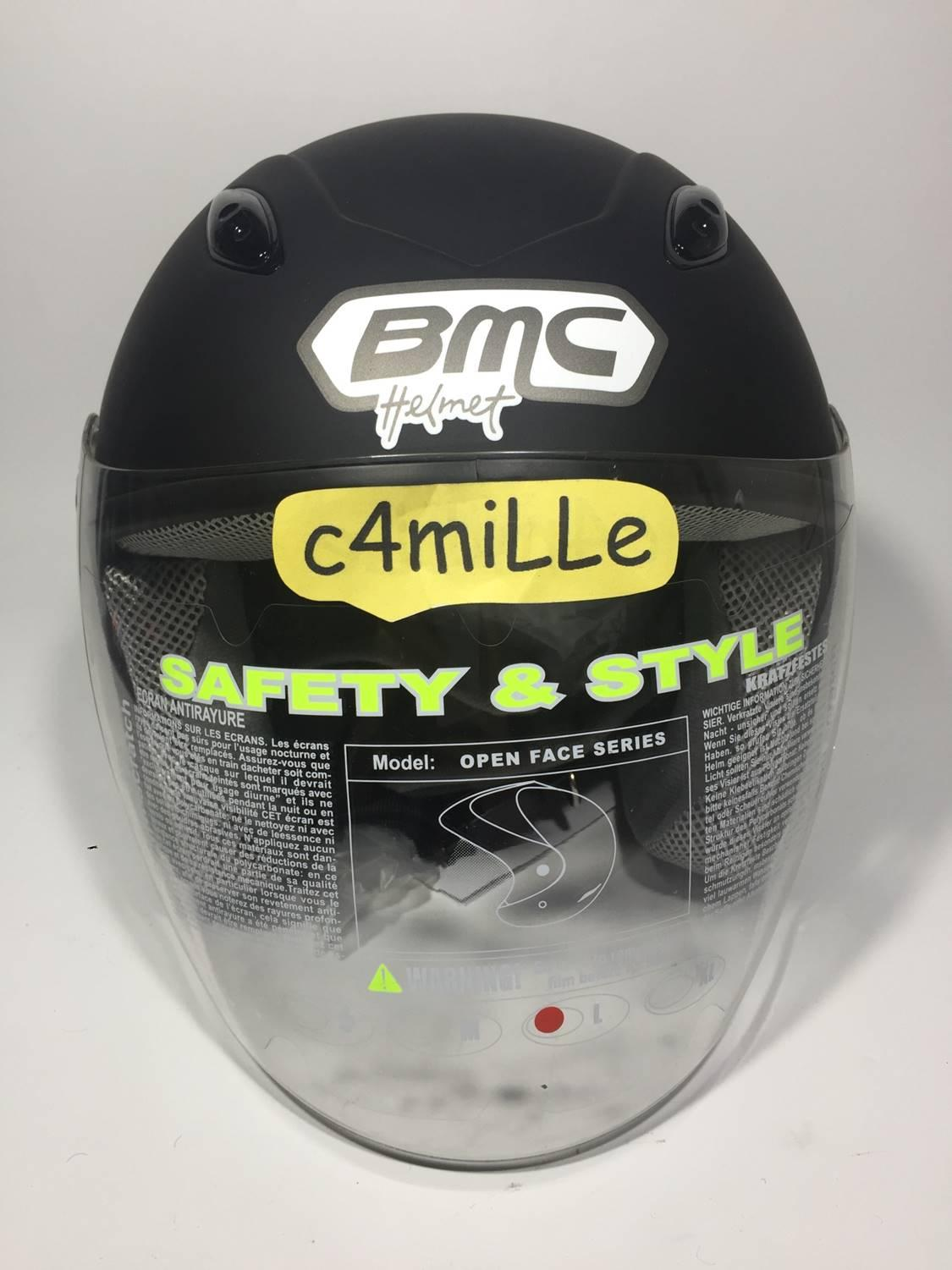 HELM BMC MILAN SOLID BLACK DOFF HALF FACE - 5