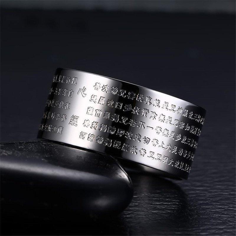 Jual Cincin Perhiasan For Wanita Dan Pria 316 Liter Stainless Steel Berlapis Perak Cincin Kitab Buddha Cina Internasional Branded